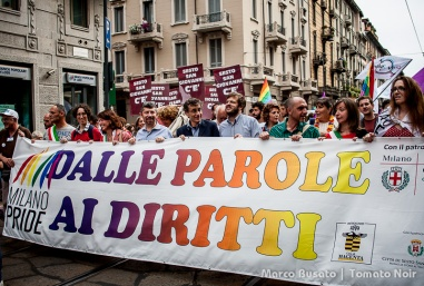 """From Words to rights"" the slogan of this year's gay pride parade in Milan"