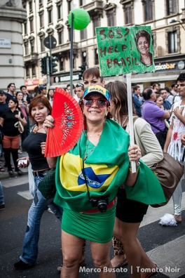 A girl demonstrates support for the Brazilian people in revolt